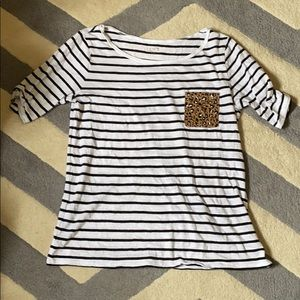 Striped tee with leopard pocket detail, size M.